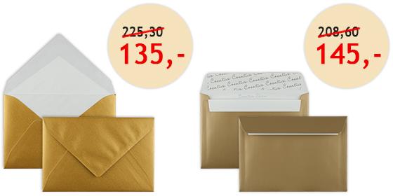 Goldene Briefhüllen rabattiert