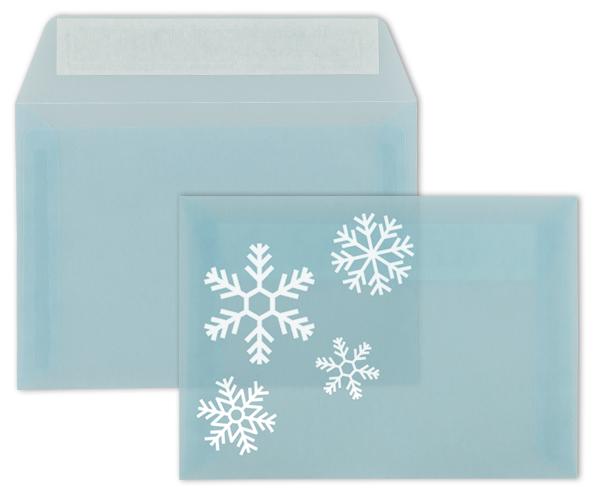 Transparente Briefhülle mit Weißdruck