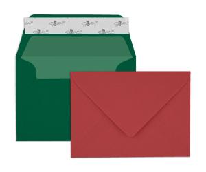 Paperado Briefhüllen - rot und tannengrün